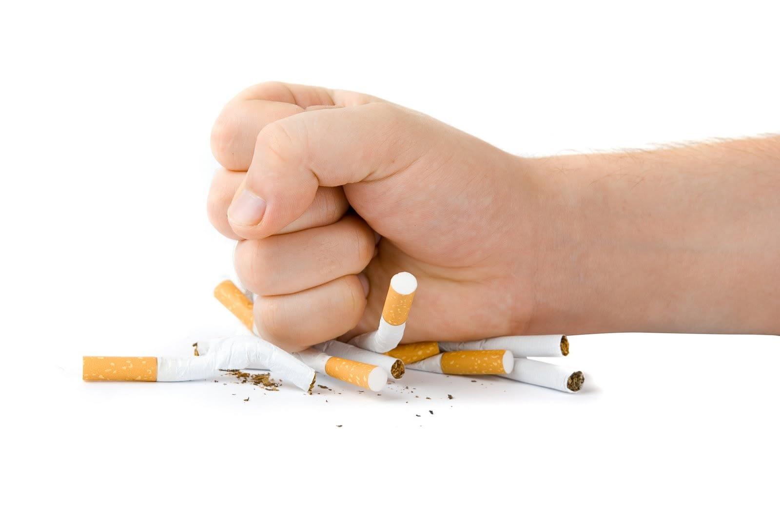 crushing cigarettes